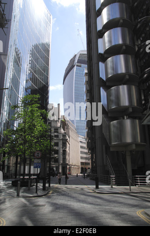 Willis, Walkie Talkie, and Lloyds building in the City of London - Stock Image