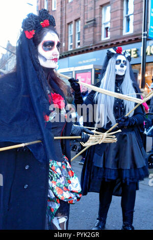 Ayrshire, UK. 28th Oct, 2018. Adults and children alike embrassed the spirit of the event and participated in the 'Day of the Deid' procession at the end of the two day festival whilst thousands lined the street to watch the ghoulish spectacle, Credit: PictureScotland/Alamy Live News - Stock Image