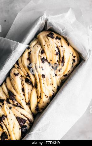 Honey Chocolate Babka Dough - Stock Image