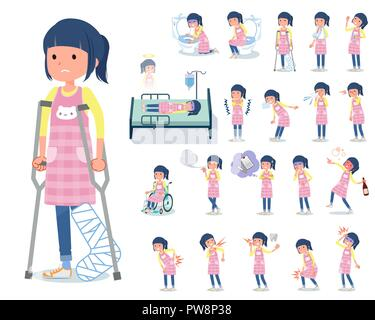 A set of Childminder women with injury and illness.There are actions that express dependence and death.It's vector art so it's easy to edit. - Stock Image