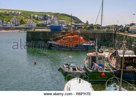 Portpatrick, Dumfries and Galloway, Scotland, UK - May 27,2012:Portpatrick Lifeboat moored in the Harbour - Stock Image