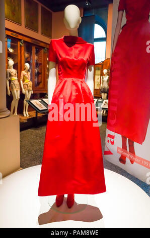Display of a bright red dress from the Valentino collection autumn winter1991 at the Catwalk Exhibition at the Bowes Museum 2018 - Stock Image