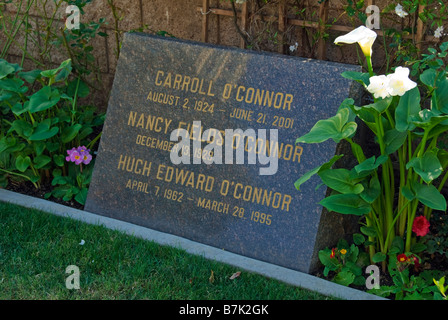 Carroll O'Conner Family Grave Hollywood Celebrity Graves Westwood Memorial Park Los Angeles CA cemetery Mortuary - Stock Image