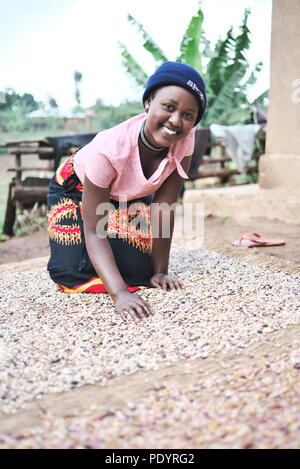 Young Ugandan girl is at home looking after her beans and seeds in rural Uganda - Stock Image