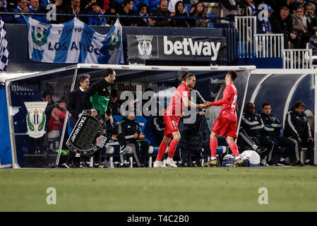 Estadio Municipal de Butarque, Leganes, Spain. 15th Apr, 2019. La Liga football, Leganes versus Real Madrid; Gareth Bale (Real Madrid) is substituted on for Asensio in the 81st minute Credit: Action Plus Sports/Alamy Live News - Stock Image
