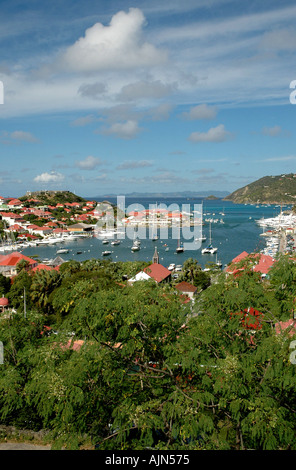 ST BARTHS French West Indies Gustavia Harbor Overview - Stock Image