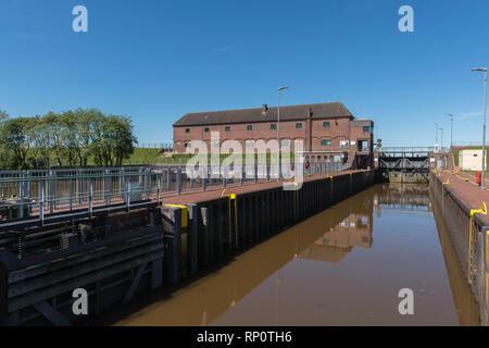 The Nordfeld Locks at the Eider River, Kleve, Dithmarschen, Schleswig-Holstein, Germany - Stock Image