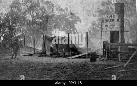 Shows the burnt remains of the Jones's Hotel, the scene of the final confrontation between Ned Kelly and the Victorian Police. A sign still stands: 'The Glenrowan Inn, Ann Jones, best accommodation'. - Stock Image