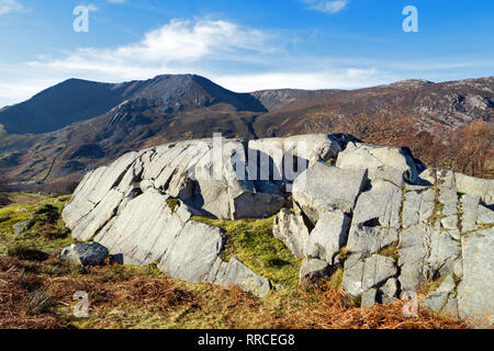 Rôche moutonnée is a rock formation created by the erosion of a passing glacier. This particular formation is in the Nant Ffrancon valley, Snowdonia. - Stock Image