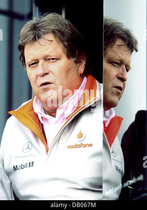 German Mercedes motorsports director Norbert Haug is pictured at the paddock of the Silverstone Circuit in Silverstone, - Stock Image