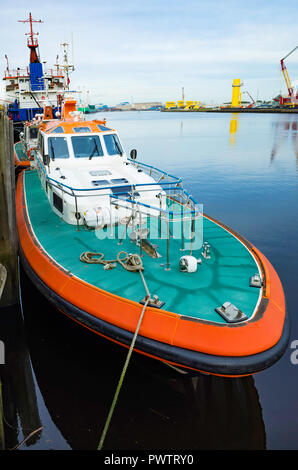 Pilot boat Coatham moored on the River Tees in central Middlesbrough - Stock Image