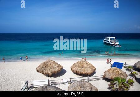 Beach Huts and Main Beach on Klein Curacao, Curacao - Stock Image