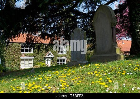 The churchyard of St Andrew's Church, Bainton, East Yorkshire, England UK - Stock Image