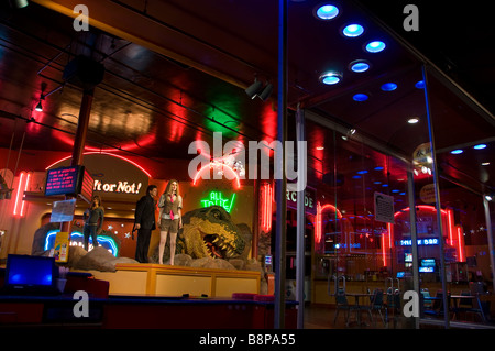 Ripleys Believe It or Not exterior windows at night shows inside display San Antonio Texas tx tourist attraction - Stock Image