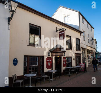 Costa coffee premises on Old Fore Street, Sidmouth, in the premises of the Old Ship Inn, in part dating to 1350 ad. - Stock Image