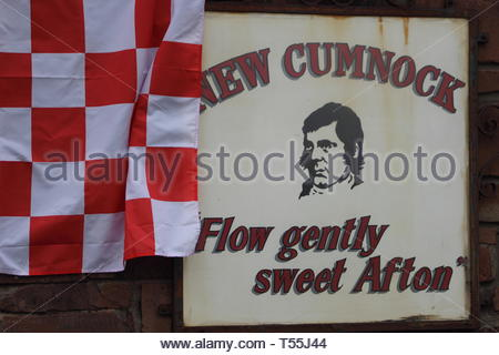 New Cumnock sign decorated in support of New Cumnock's Glenafton football team in advance of the Scottish junior cup final 2014 - Stock Image