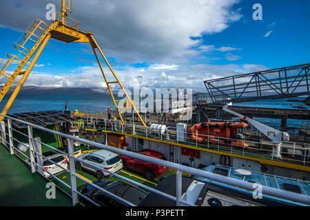 Isle of Skye: Loading the Armadale to Mallaig car ferry in the Highlands of Scotland. - Stock Image