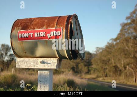 YARRAMAN, AUSTRALIA, SEPTEMBER 29, 2008: Election campaign sticker on farmer's mailbox, on September 29, 2008 - Stock Image