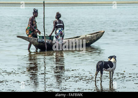 Women unload shellfish, Baki Island, the Turtle Islands, Sierra Leone. - Stock Image