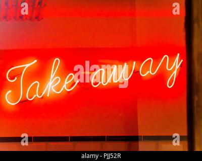 Europe, France, Paris, rue des vinaigriers, neon letter lights of a fish and chips shop - Stock Image