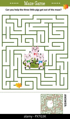 Maze game: Can you help the three little pigs get out of the maze? Answer included. - Stock Image