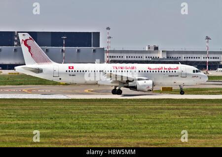 Tunisair Airbus A320 at Milan - Malpensa (MXP / LIMC) Italy - Stock Image