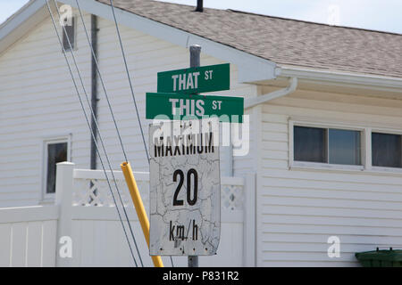 May 12, 2018- Porters Lake, Nova Scotia: The charmingly named intersection of This Street or That Street. - Stock Image