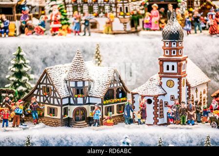 Salzburg, Salzburger Christkindlmarkt gingerbread houses Christmas Market decorations in Austria. - Stock Image