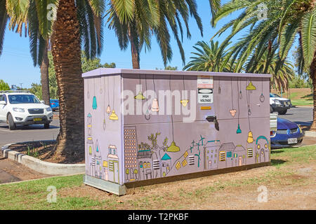 Electrical sub station decorated by volunteers. Tamworth Australia. - Stock Image