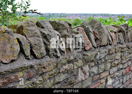 """British Stone wall with traditional toppers capping called in some parts of the countryside """"cocks & hens"""" - Stock Image"""
