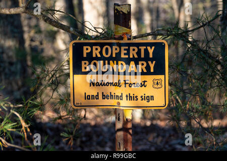 A sign marking the boundary of a USA National Forest Shenandoah Virginia woods forest George Washington National Forest - Stock Image
