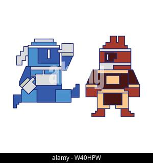 Videogame pixelated ninjas characters symbol blue lines - Stock Image