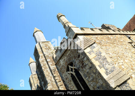 Angled view of wall of St Mary's Church, Church Square, Rye, East Sussex, UK - Stock Image