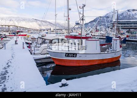 Fishing boat in harbour at Tromsø, Troms County, Norway. - Stock Image