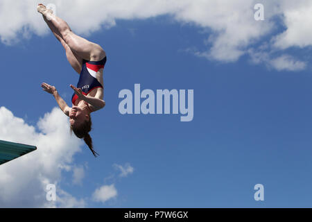 Bolzano, Italy. 07th, Jul 2018. Schultz Brooke from United States of America competes in the Women's 3m Springboard Diving Semi-Final on day two at Bolzano Lido, during 24th FINA Diving Grand Prix in Bolzano, Italy, 07 July 2018. (PHOTO) Alejandro Sala/Alamy Live News - Stock Image