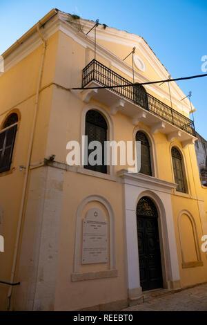 Greece Corfu Island AA Jewish synagogue in old Corfu Town - Stock Image