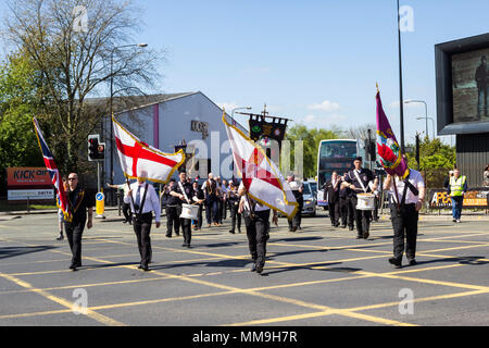 6th May 2018, Manchester UK. Musicians of the of the British Ulster Alliance Flute band taking part in the Apprentice Boys of Derry parade. - Stock Image