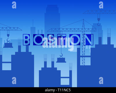 Boston Property Construction Shows Real Estate In Massachusetts Usa. Housing Purchase Or Realty Rental 3d Illustration - Stock Image