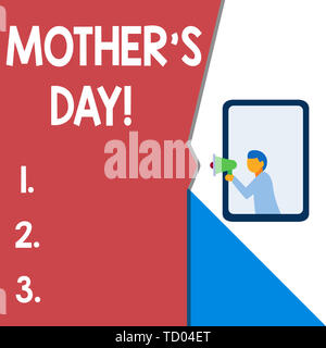 Text sign showing Mother S Day. Business photo text day of year where mothers are particularly honoured by children Isolated geometrical background ma - Stock Image