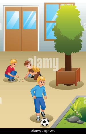 A vector illustration of Kids Playing Marbles and Soccer Outdoors - Stock Image
