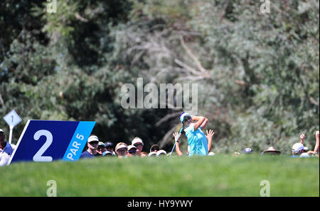Rancho Mirage, California, USA. 2nd Apr, 2017. Lexi Thompson tees off on the 2nd hole during the final round of - Stock Image