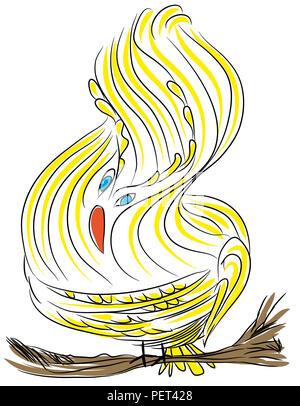 Cute yellow bird.  illustration of yellow bird on the tree branch. - Stock Image