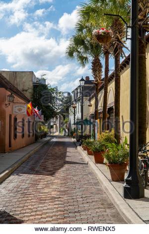 Street scene on Aviles Street in the historic district of Saint Augustine, Florida USA - Stock Image