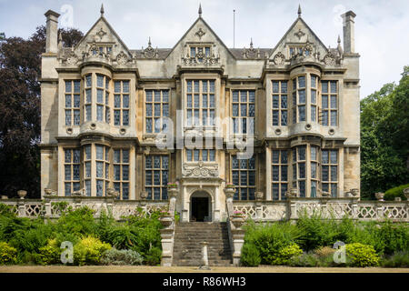 South front of the Hall, Bradford-on-Avon, a 17th-century Elizabethan mansion, this facade largely rebuilt in the 19th century. - Stock Image