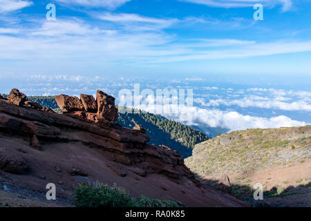 Volcanic geological rock formations above the cloud level at La Palma, Canary Islands, Spain - Stock Image