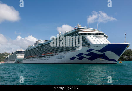Regal Princess Cruise ship docked at St. Thomas, Virgin Islands - Stock Image