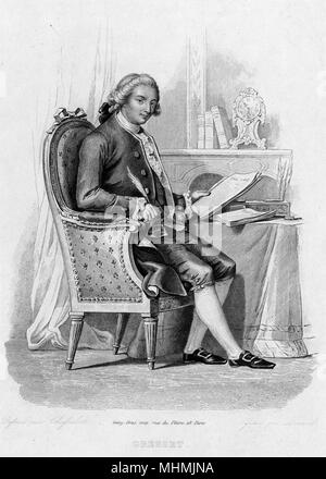 There was a French poet named Gresset, who was trying to write an essay, but the ink from his quill would splutter and spill, making poor Gresset's essay so messy !     Date: circa 1750 - Stock Image