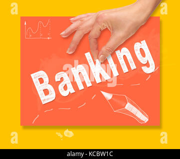 A hand picking up a Banking concept on a colorful drawing board. - Stock Image
