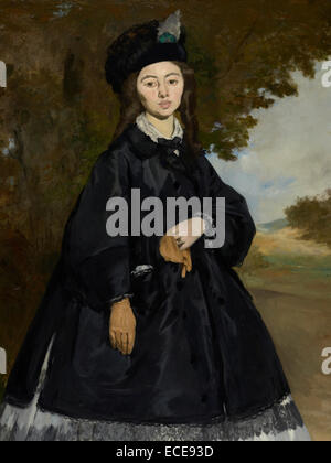 Portrait of Madame Brunet; Édouard Manet, French, 1832 - 1883; France, Europe; about 1860 -1863, reworked by - Stock Image