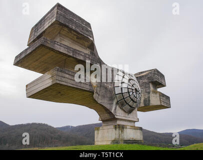 Podgaric, Croatia - December 30th 2018. The Monument to the Revolution of the People of Moslavina in Bjelovar-Bilogora County, central Croatia - a Yug - Stock Image